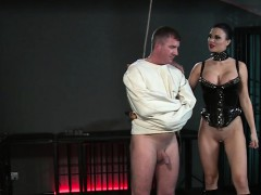 Slave in straitjacket gets handjob