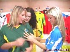 Teenie lesbians undressing in the locker room