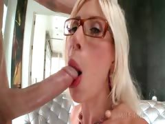Slutty blonde MILF in glasses gets starved twat drilled hard