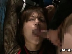 Asian slave in ropes gets deep throated and face jizzed