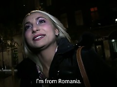 Blonde fucks huge dick in public