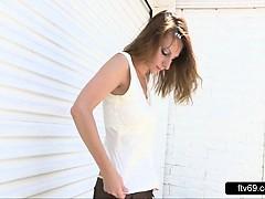 Softcore brunette schoolgirl upskirt bikini tease outdoor